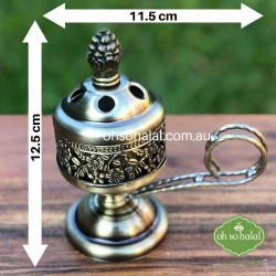 Metal incense/bakhoor burner in antique brass colour with carry handle
