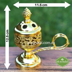 Metal Incense/Bakhoor Burner in Gold Colour with Carry Handle