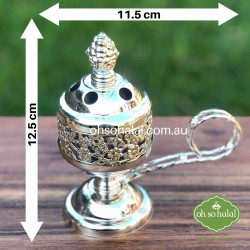 Metal incense/bakhoor burner in silver colour with carry handle