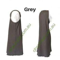 One Piece Slip-On Cotton Hijab - Grey
